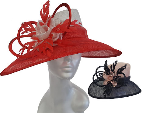 Women's 2 tone designer couture Derby Easter straw sinamay summer hat #SW9067