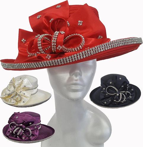 Women's Designer Couture profile upturned brim  flat crown Satin Ribbon Hat Chur