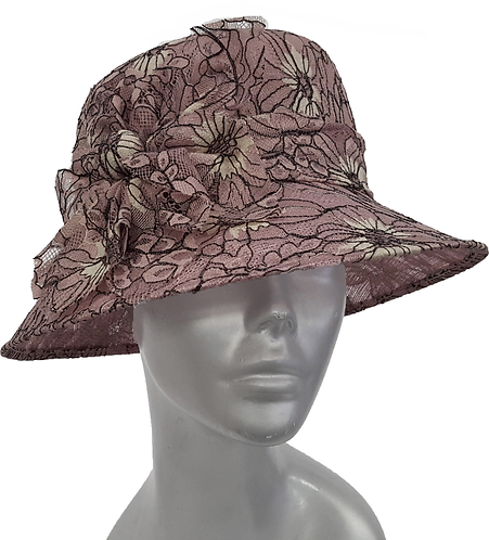 Designer Lace Covered Straw Hat - Style# SM8041