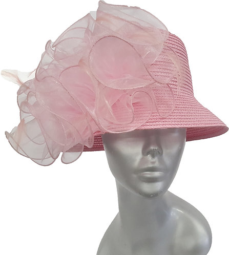 Dressy packable paper braid hand-sewn women's summer derby hat Pink #112