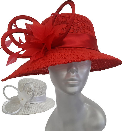 Women's covered lace designer Couture straw Sinamay Weddings Church hat #SW9065