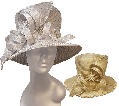 Dressy metallic ribbon satin ribbon church hat is perfect for Church, Mother's