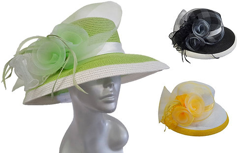 Women's wide Brim Paper braid summer straw church Derby Easter Sunday hat#CM1106