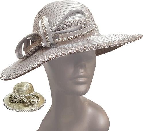 Beautiful Rhinestones satin ribbon church Designer Couture hat