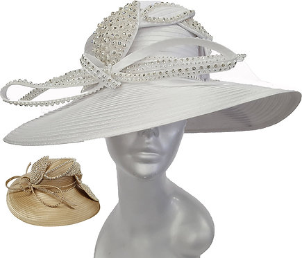 Women's Over Sized Brimmed Satin Ribbon Hat Church Kentucky Derby Wedding