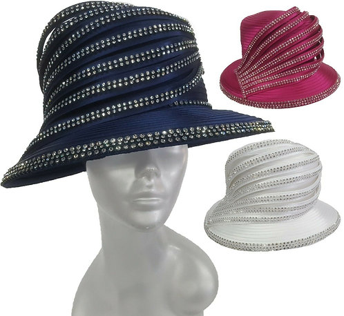 Women's round crown Satin Ribbon Church Designer Couture Bridal Derby Hat #H2864