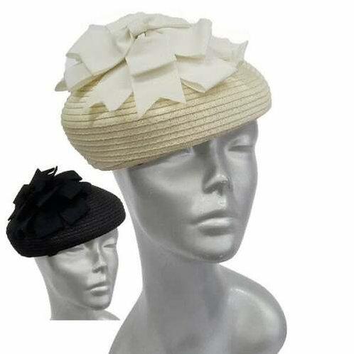 Grosgrain Bow Women's Straw Braid Derby Synagogue Beret Fascinator Hat #ZH071