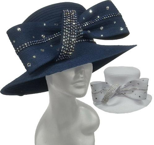 Women's Year around Designer Couture Denim Ribbon Church Easter Hat #H2706