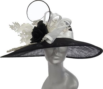 Women's Black/White Designer Derby, Easter straw sinamay bridal sun hat #SW9079