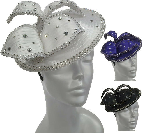 Women's Satin ribbon rhinestones Cocktail fascinator church Bridal Hat #T009