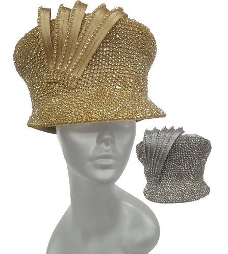 Women's Designer Captains Rhinestones Cap Cadet Dressy Couture Church Hat #H1878