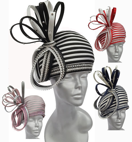 Women's 2-tone striped beret with satin loops perfect for church Derby #H400