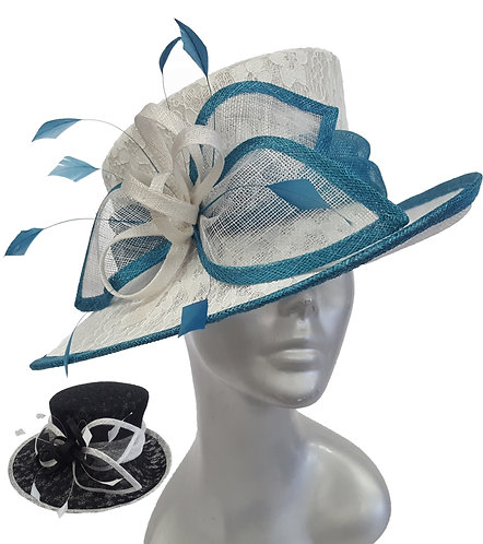 Women's Lace Covered Designer Couture special occasion sinamay straw hat #SW9064