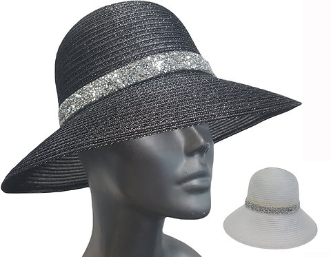 Women's packable dressy cloche style hand sewn metallic crinalin braid Hat