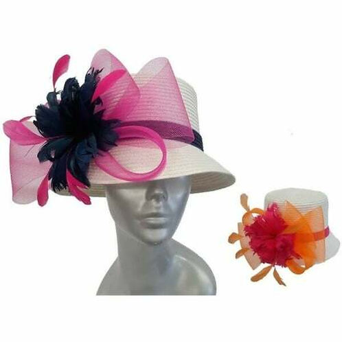 Women's colored feathers poly braid summer Derby Easter Sunday Church Hat #HL-16