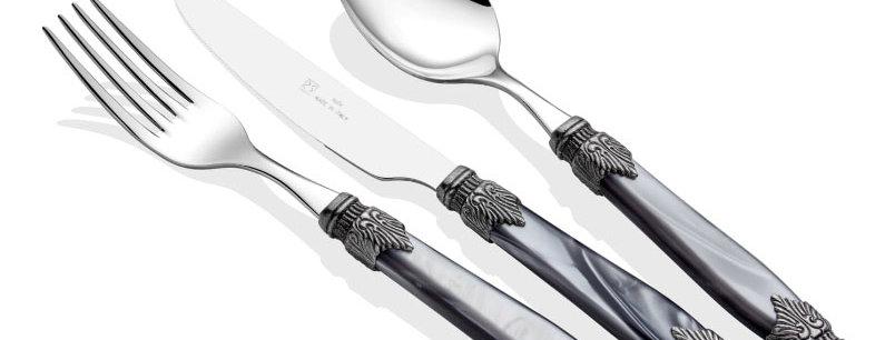 Arianna 75 Parça Çatal Bıçak Seti (Gri,Kemik,Şampanya)