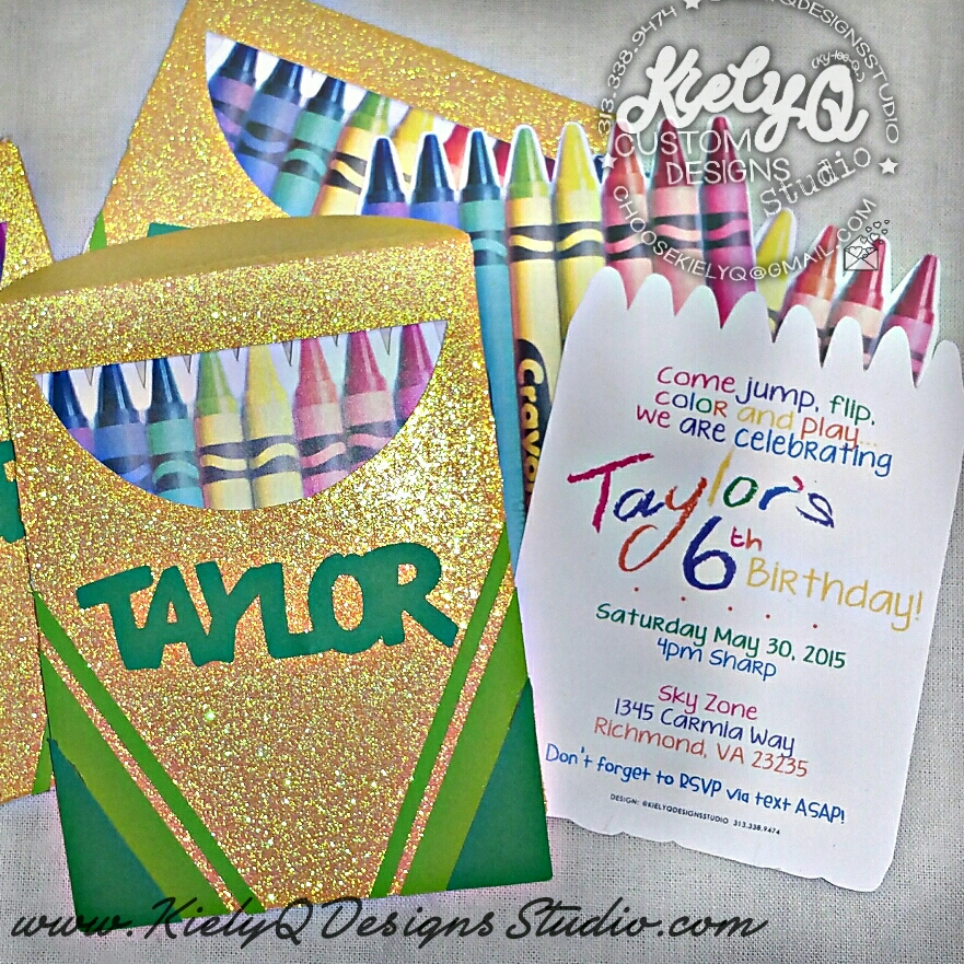 Diecut Pocket Crayon Box Invitations