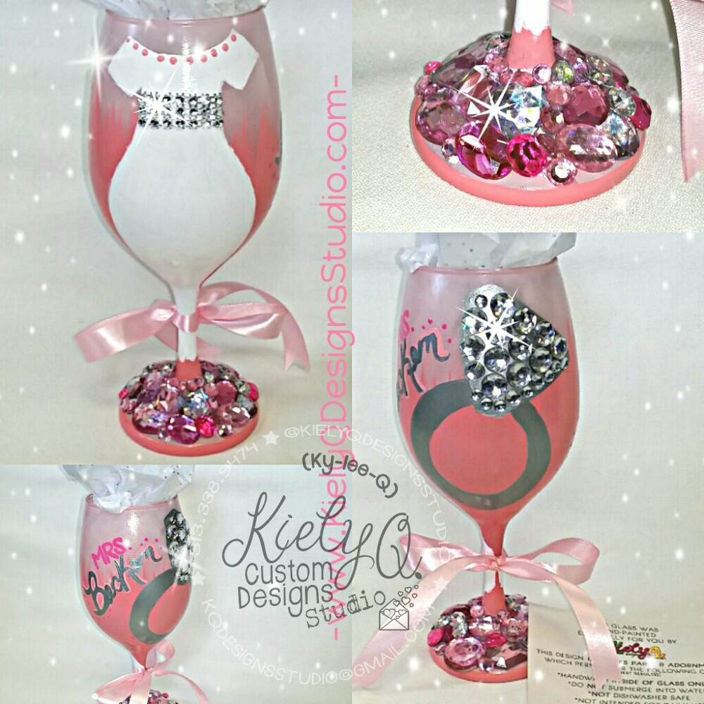 Hand-Painted & Adorned Wine Glass