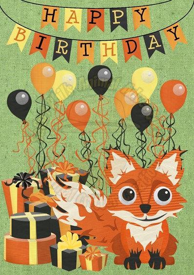Birthday Card - Fox