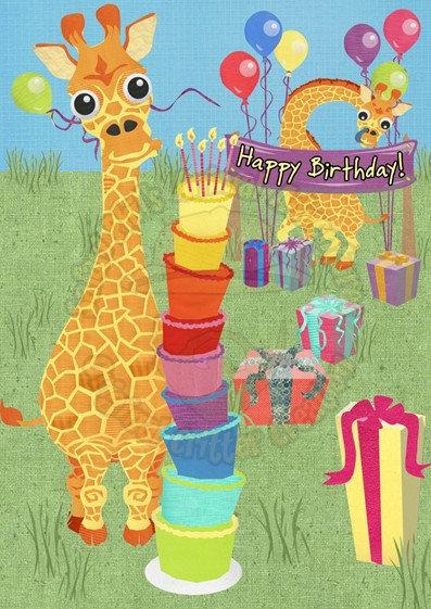 Birthday Card - Giraffe