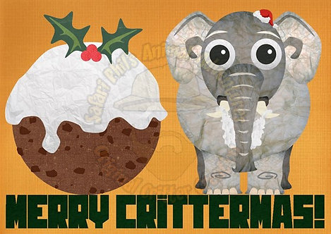 Crittermas Card - Elephant Pudding