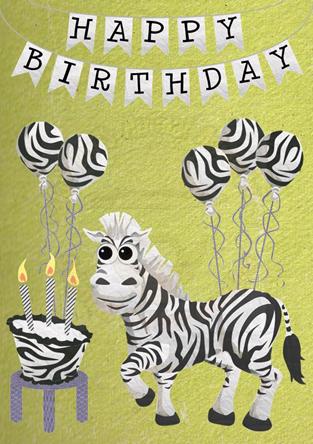 Birthday Card - Zebra