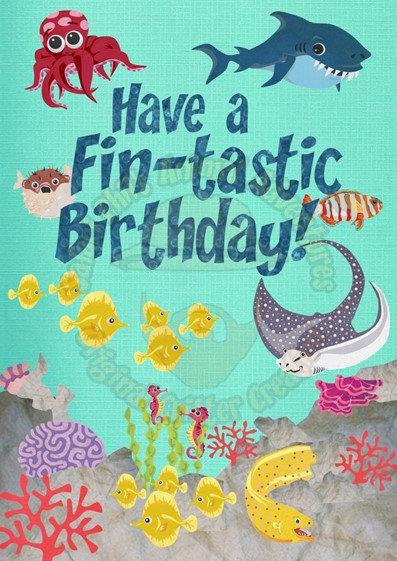 Birthday Card - 'Fin-tastic'
