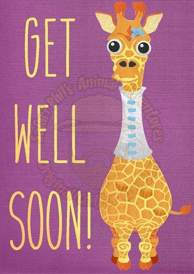Get Well Soon Card - Giraffe
