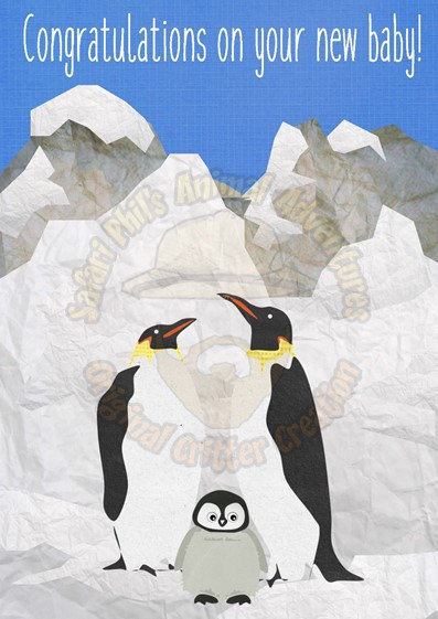 New Baby Card - Penguins