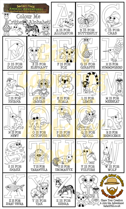Alphabet Critters Colouring Poster