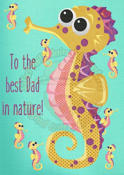 Fathers Day Card - Seahorse