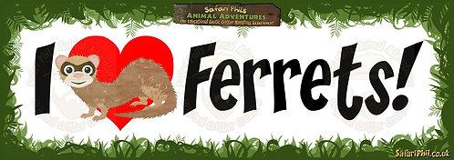'I heart Ferrets!' Jumbo Sticker