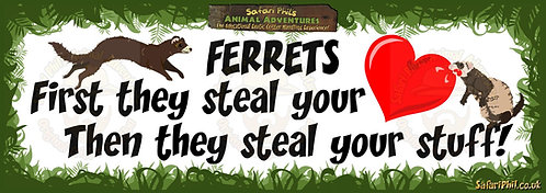 'Ferrets steal your heart!' Jumbo Sticker