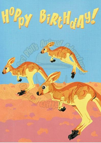 Birthday Card Kangaroos Hoppy Birthday