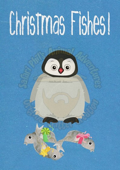 Crittermas Card - Penguin 'Christmas Fishes'