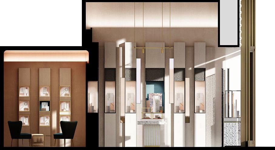 CONCEPT RETAIL ARCHITECTURAL POUR UNE MARQUE DE HAUTE JOAILLERIE: façade, aménagement intérieur, mobilier sur mesure, comptoirs de présentation, PLV