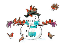 snowman  with robins