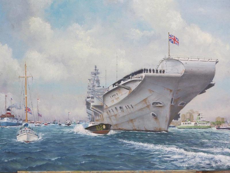 HMS Hermes Returning from the Falklands 1982