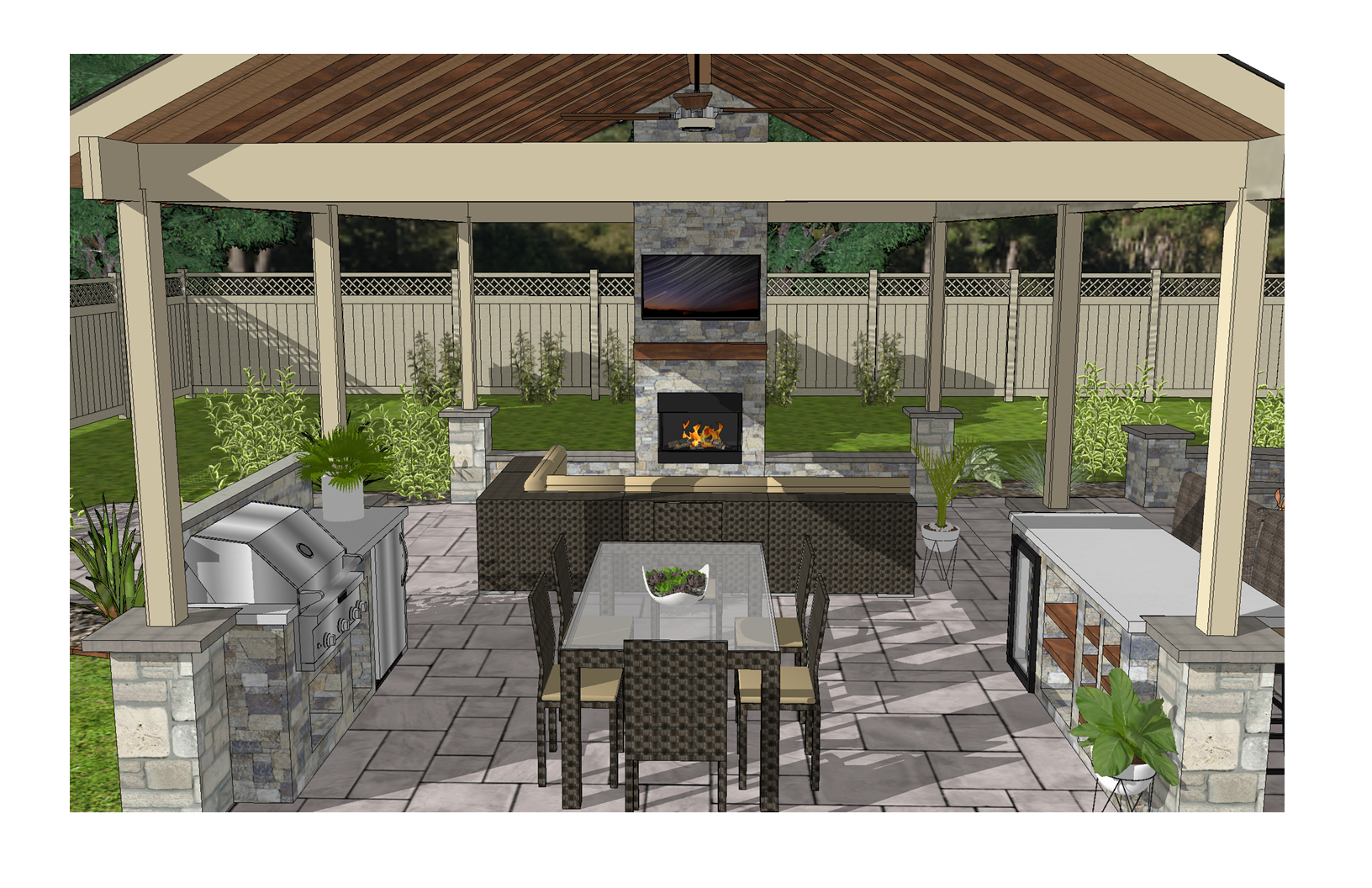 Outdoor Kitchen/Bar and Living Area