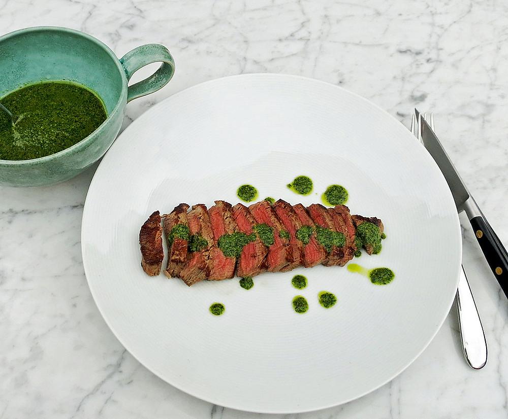 Beef fillet steak with salsa verde