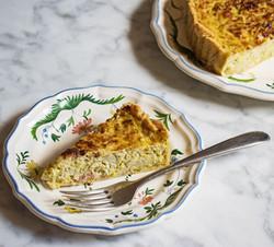Flan aux poireaux et lardons (leek and bacon tart)