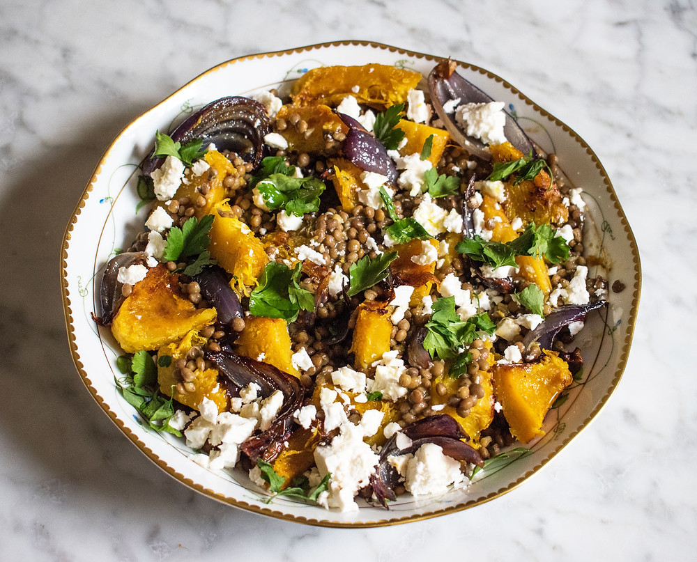Lentils with feta, roast pumpkin and red onion