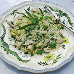 Orzo pasta with chicken, peas and tarragon