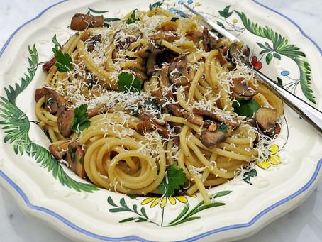 Porcini and chestnut mushroom pasta