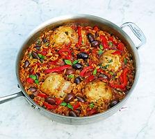 Orzo pasta, chicken, chorizo, tomatoes,