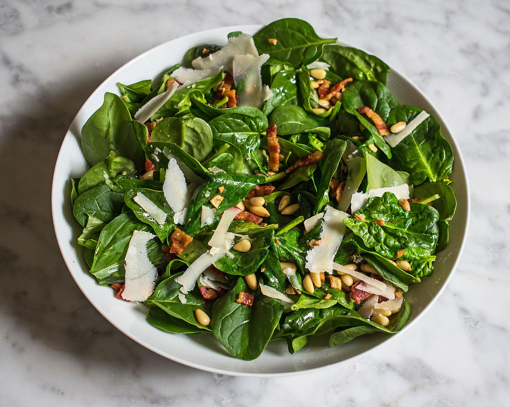 Spinach, smoked bacon, pine nut and parmesan warm salad