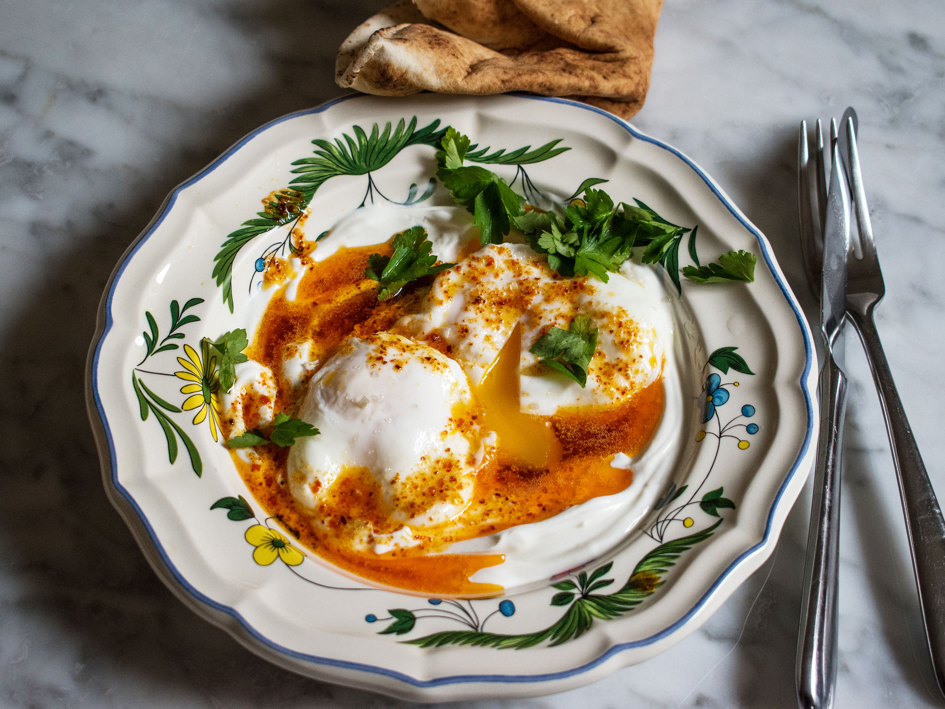 Turkish poached eggs with yoghurt an
