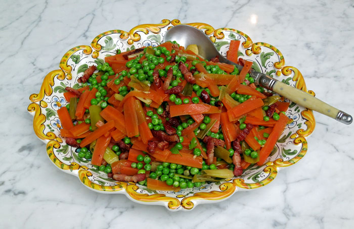 Vegetables jardinière with bacon lardons
