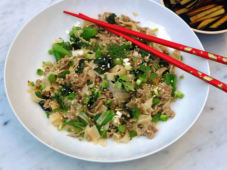Spicy ginger pork noodles with pak choy
