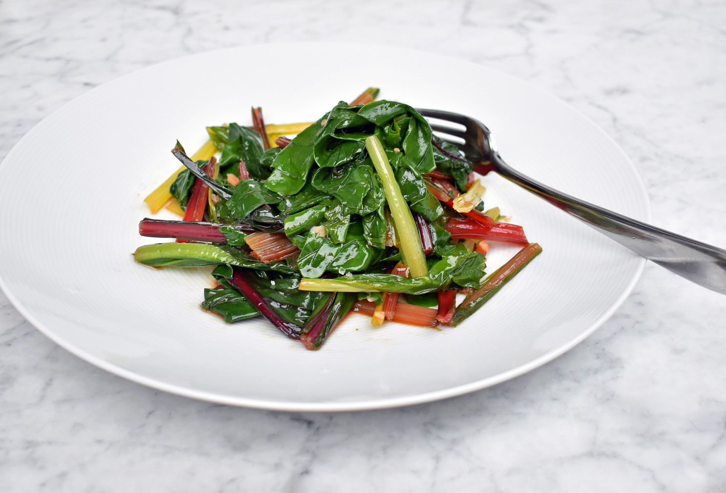 Swiss chard with garlic and extra virgin